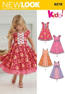 6278 New Look Pattern: Child's Dress with Trim Variations